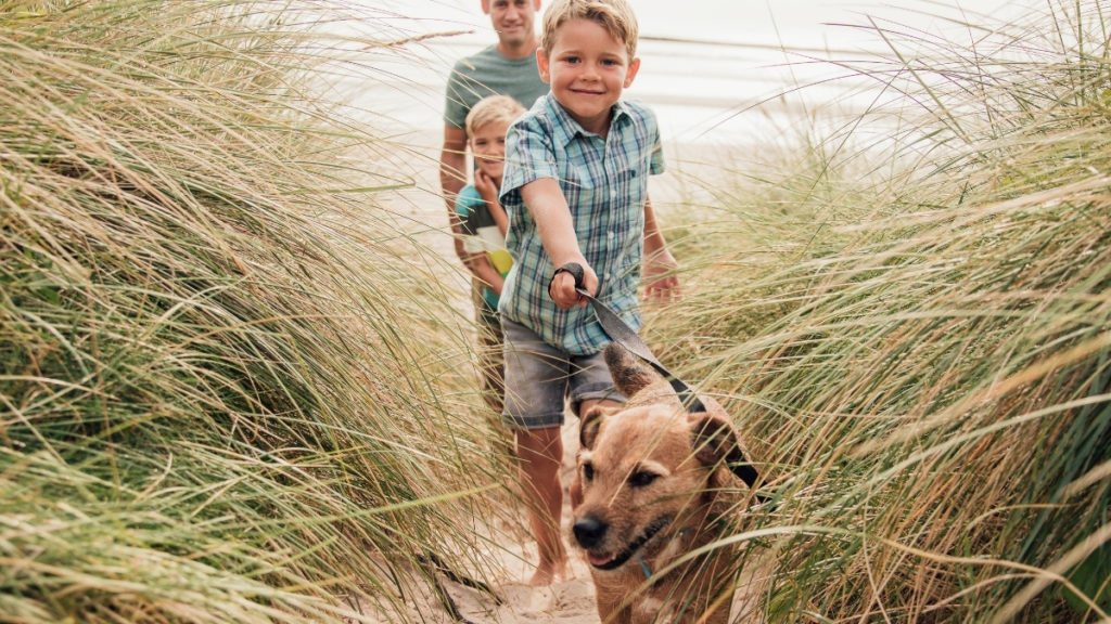 boy walking dog with family